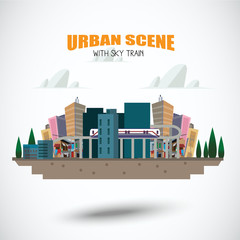 urban scene with sky train - vector