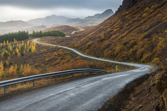 The road line perspevtive direct in to mountain in Autumn season