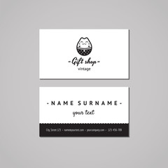 Gift shop and souvenirs business card design concept. Gift shop logo with Japanese cat. Vintage, hipster and retro style. Black and white.