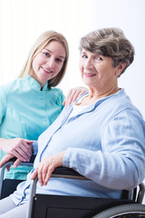 Senior woman and cheerfulness carer
