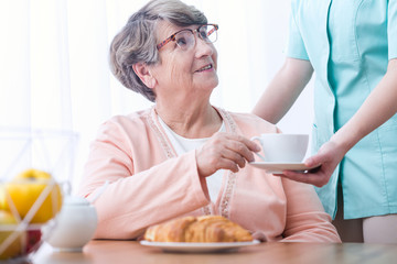 Senior woman drinking tea