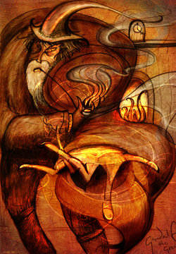 Wizard by the Fire - interpretation of a famous magician from the realm of fantasy