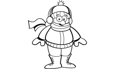 Black and white illustration of a kid wearing winter clothing.