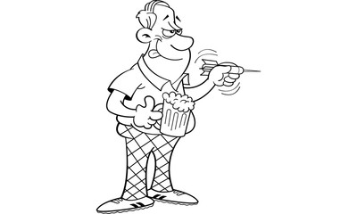 Black and white illustration of a man throwing a dart.