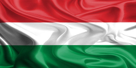 Waving Fabric Flag of Hungary