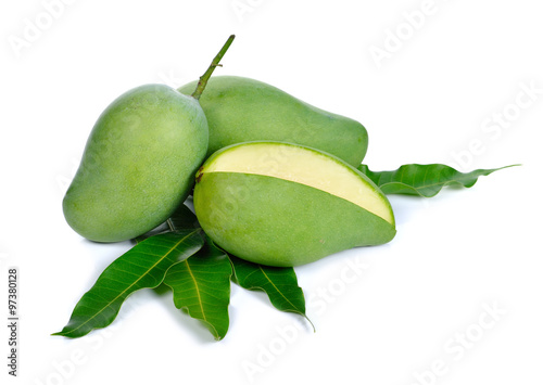 quotgreen mango on white backgroundquot stock photo and royalty