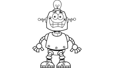 Black and white illustration of a smiling robot.