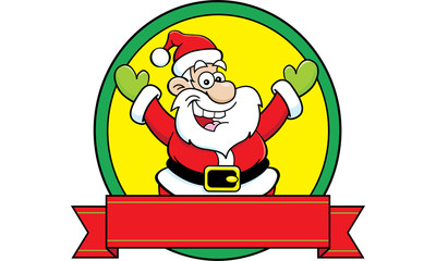 Cartoon illustration of Santa Claus with a banner.