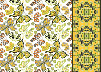 Seamless pattern with colorful vintage butterflies and flowers. Hand draw vector background