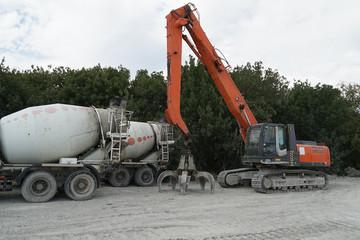 excavator, concrete mixer