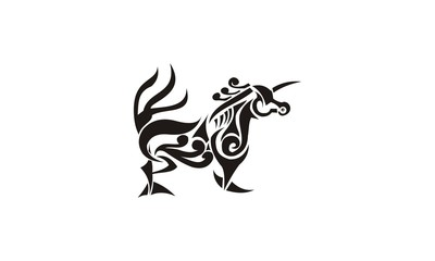 tribal unicorn design.