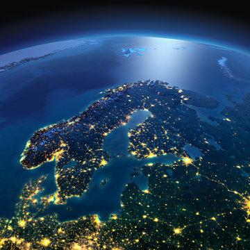 Detailed Earth. Europe. Scandinavia on a moonlit night