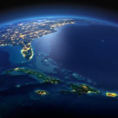Detailed Earth. Caribbean islands. Cuba, Haiti, Jamaical on a mo