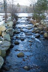 Stream draining leach pond