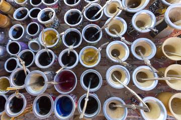 Yerba mate cups sold in the market in Puente del Inca