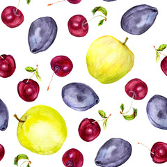 Cherry, apple and plum fruits. Seamless pattern. Watercolor