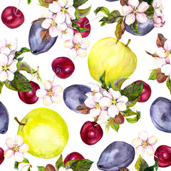 Cherry flowers and fruits: plum, cherry, apple. Seamless pattern. Watercolor