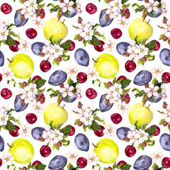 Cherry flowers and fruits: plum, cherry, apple. Seamless background. Watercolor