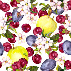 Cherry flowers and harvest fruits: plum, cherry, apple. Seamless pattern. Watercolor