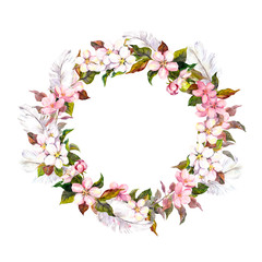 Vintage border wreath with blossom flowers (cherry, apple flower) and feathers. Retro water color in shabby chic style