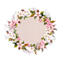 Ditsy border wreath with sakura flowers (cherry, apple flower blossom). Watercolour