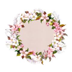 Ditsy border wreath with sakura flowers (cherry, apple flower blossom). Watercolour