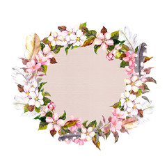 Border wreath with spring blossom and feathers. Apple, cherry, plum, almond flowers. Watercolor