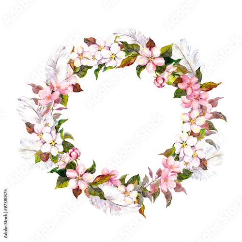Vintage Border Wreath With Blossom Flowers Cherry Apple Flower