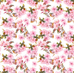 Pink blooming fruit flowers (apple, cherry, plum). Seamless floral pattern. Watercolor on white background