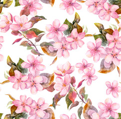 Pink fruit (apple, cherry, sakura) flowers. Seamless floral template. Aquarelle on white background