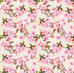 Retro pink apple and cherry flowers in blossom. Seamless floral wallpaper. Vintage watercolor on paper background