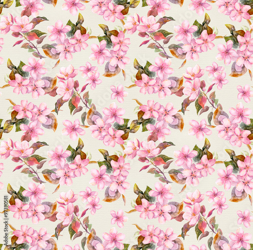 Retro Pink Apple And Cherry Flowers In Blossom Seamless Floral