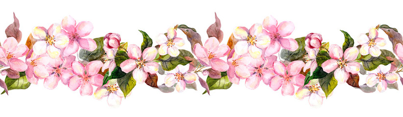 Seamless repeated floral border - pink cherry (sakura) and apple flowers. Watercolor