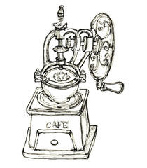hand drawn sketch vintage coffee grinder isolated