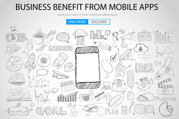 Business Benefit From Mobile concept with Doodle design style