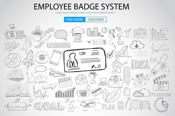Employee Badge System concept with Doodle design style: