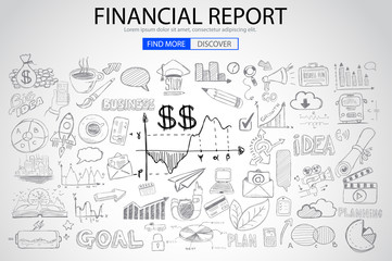 Financial Report concept with Doodle design style