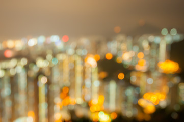 Bueautiful night bokeh city at hongkong