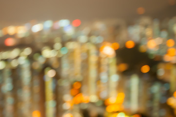 Bueautiful night bokeh city at hongkong