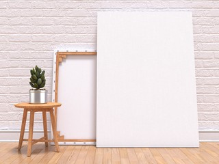 Mock up canvas frame with plant, floor and wall. 3D render illustration