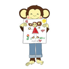 Mother's day. Monkey holds drawing of his mother.