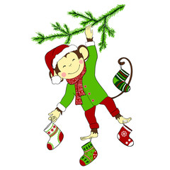 Christmas. Monkey hanging on christmas-tree and holding four chr