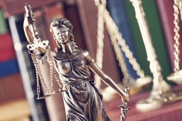 Law concept, statue, scale and books