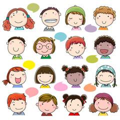 Hand drawn children faces set