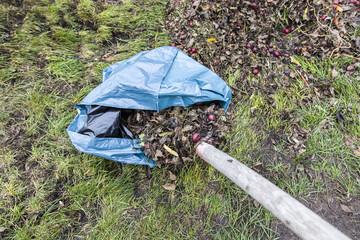 Gartenabfall im Müllsack entsorgen und dann in die Bio-Tonne