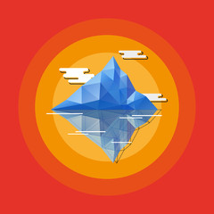 Geometric abstract iceberg. Flat style vector illustration