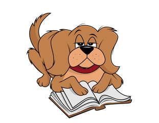 cartoon vector illustration of a dog fluffy reading