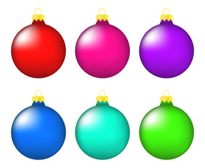Christmas bauble icon set, symbol, design. Winter illustration isolated on white background.