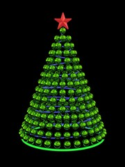 Christmas tree from green mirror spheres