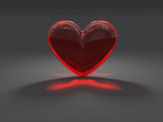 Mysterious red heart with caustic effect